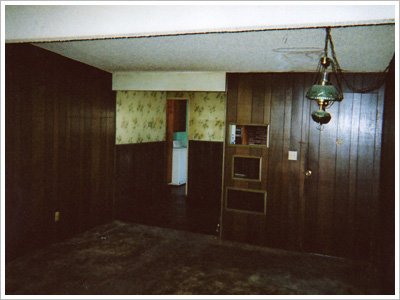 Buried Pool House Before Living Room